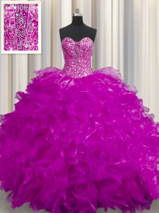 See Through Fuchsia Ball Gowns Sweetheart Sleeveless Organza Floor Length Lace Up Beading and Ruffles Sweet 16 Quinceanera Dress