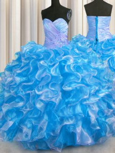 Decent Sweetheart Sleeveless Organza Quinceanera Dresses Beading and Ruffles Lace Up