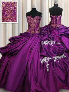 High Quality Purple Sweetheart Neckline Beading and Appliques Quinceanera Dresses Sleeveless Lace Up