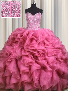 Visible Boning Bling-bling Sleeveless Brush Train Lace Up With Train Beading and Ruffles Ball Gown Prom Dress