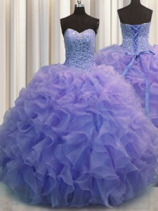 Popular Blue Organza Lace Up 15 Quinceanera Dress Sleeveless Floor Length Beading and Ruffles
