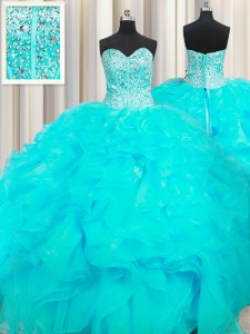 Visible Boning Beaded Bodice Aqua Blue Organza Lace Up Sweetheart Sleeveless Floor Length 15th Birthday Dress Beading and Ruffles