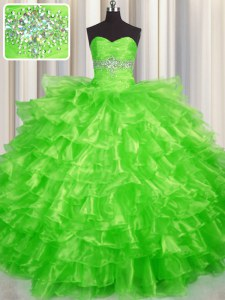 Ruffled Layers Floor Length Ball Gowns Sleeveless Ball Gown Prom Dress Lace Up