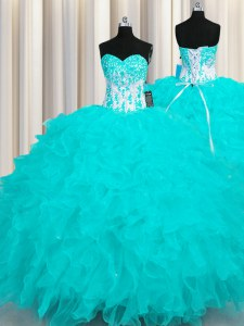 Deluxe Organza Sweetheart Sleeveless Lace Up Appliques and Ruffles 15 Quinceanera Dress in Aqua Blue