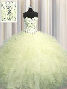 Wonderful Visible Boning Light Yellow Quinceanera Dresses Military Ball and Sweet 16 and Quinceanera and For with Beading and Appliques and Ruffles Sweetheart Sleeveless Lace Up