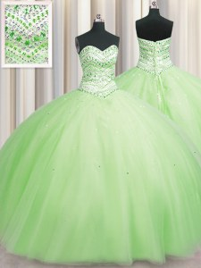 Inexpensive Bling-bling Big Puffy Yellow Green Ball Gowns Sweetheart Sleeveless Tulle Floor Length Lace Up Beading 15th Birthday Dress