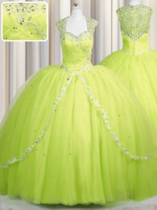 Zipper Up Brush Train Yellow Green Sweetheart Neckline Beading and Appliques Quinceanera Dress Cap Sleeves Zipper