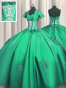 Turquoise Short Sleeves Beading and Appliques and Ruching Floor Length Ball Gown Prom Dress