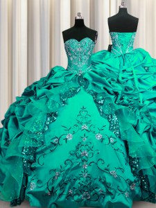 Sequins Dark Green Sweetheart Neckline Beading and Embroidery and Ruffles and Pick Ups Quinceanera Dresses Sleeveless Lace Up