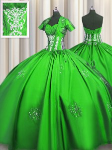 Short Sleeves Lace Up Floor Length Beading and Appliques and Ruching Sweet 16 Quinceanera Dress