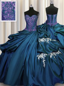 Sweet Teal Taffeta Lace Up Sweetheart Sleeveless Floor Length Quinceanera Dress Beading and Appliques