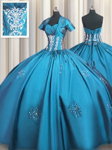 Teal Short Sleeves Taffeta Lace Up Quinceanera Dress for Military Ball and Sweet 16 and Quinceanera
