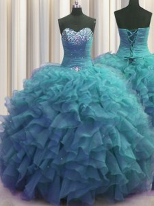 Smart Beaded Bust Teal Sleeveless Beading and Ruffles Floor Length Sweet 16 Dresses
