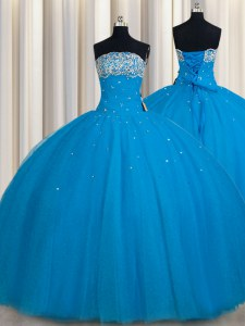 Really Puffy Strapless Sleeveless Sweet 16 Quinceanera Dress Floor Length Beading and Sequins Teal Tulle