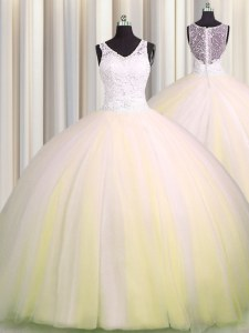 Zipple Up V Neck Light Yellow Sleeveless Brush Train Beading and Appliques Quinceanera Gowns