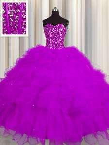 Visible Boning Fuchsia Sleeveless Beading and Ruffles and Sequins Floor Length Quinceanera Dresses