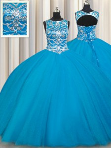 Scoop Sleeveless Lace Up Floor Length Beading Quinceanera Dresses