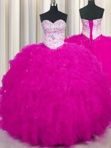 Top Selling Fuchsia Ball Gowns Sweetheart Sleeveless Tulle Floor Length Lace Up Beading and Ruffles Quinceanera Gown