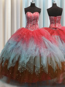Excellent Visible Boning Sweetheart Sleeveless Quinceanera Dress Floor Length Beading and Ruffles and Sequins Multi-color Tulle