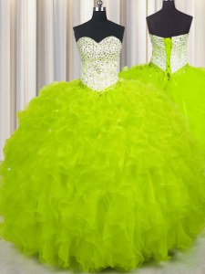 Colorful Sleeveless Tulle Floor Length Lace Up Quinceanera Dress in Yellow Green with Beading and Ruffles