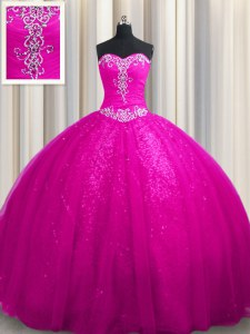 Sweetheart Sleeveless 15th Birthday Dress With Train Court Train Beading and Appliques Fuchsia Tulle and Sequined
