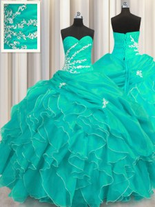Adorable Sweetheart Sleeveless Quince Ball Gowns Floor Length Beading and Appliques and Ruffles Turquoise Organza