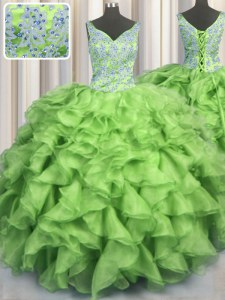 Artistic V Neck Floor Length Sweet 16 Dresses Organza Sleeveless Beading and Ruffles