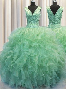 Zipper Up Green Ball Gowns V-neck Sleeveless Organza Floor Length Zipper Beading and Ruffles Sweet 16 Dress