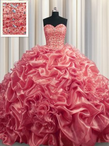 Organza Sweetheart Sleeveless Court Train Lace Up Beading and Pick Ups Sweet 16 Dresses in Watermelon Red