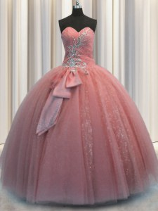 Fashionable Sequins Bowknot Ball Gowns Quince Ball Gowns Watermelon Red Sweetheart Tulle Sleeveless Floor Length Lace Up
