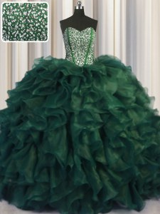 Modest Bling-bling Sleeveless With Train Beading and Ruffles Lace Up Sweet 16 Quinceanera Dress with Dark Green Brush Train