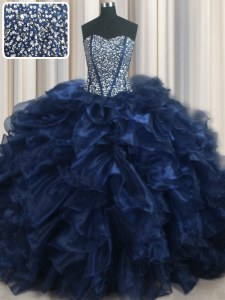 Luxurious Visible Boning Bling-bling With Train Navy Blue Quinceanera Gowns Sweetheart Sleeveless Brush Train Lace Up
