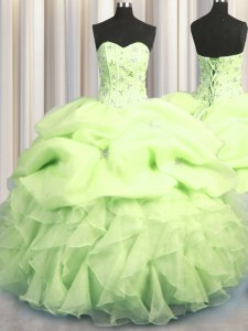 Edgy Visible Boning Sweetheart Sleeveless Organza Sweet 16 Dress Beading and Ruffles and Pick Ups Lace Up