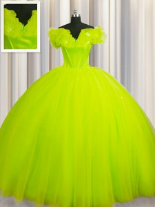 Off The Shoulder With Train Lace Up Sweet 16 Dress Yellow Green for Military Ball and Sweet 16 and Quinceanera with Ruching Court Train