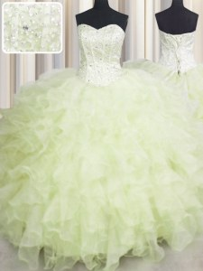 Sweetheart Sleeveless Organza Quinceanera Gown Beading and Ruffles Lace Up