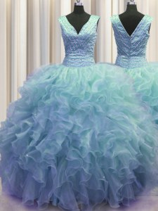 Elegant Zipper Up Baby Blue V-neck Zipper Ruffles Sweet 16 Dresses Sleeveless
