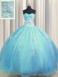 Glittering Zipper Up Baby Blue and Light Blue Ball Gowns Sweetheart Sleeveless Organza Floor Length Zipper Beading and Appliques 15 Quinceanera Dress