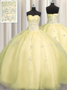 Really Puffy Sleeveless Floor Length Beading and Appliques Zipper Ball Gown Prom Dress with Light Yellow