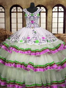Embroidery Ruffled Layers Floor Length Multi-color Quinceanera Dress V-neck Sleeveless Lace Up