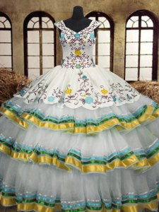 Luxurious Multi-color Lace Up Sweet 16 Dress Embroidery and Ruffled Layers Sleeveless Floor Length