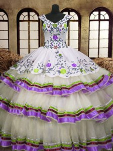 Multi-color A-line Embroidery and Ruffled Layers Ball Gown Prom Dress Lace Up Organza Sleeveless Floor Length