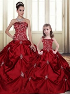 Sleeveless Taffeta Floor Length Lace Up Sweet 16 Dress in Wine Red with Embroidery and Pick Ups