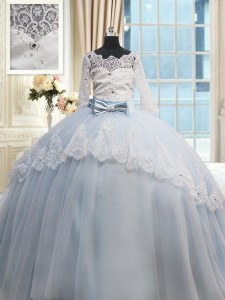 Light Blue Ball Gown Prom Dress Military Ball and Sweet 16 and Quinceanera and For with Beading and Lace and Bowknot Scalloped Half Sleeves Brush Train Lace Up