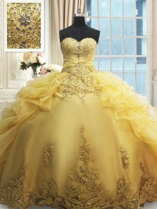 Amazing Organza Sweetheart Sleeveless Lace Up Beading and Appliques and Ruffles Vestidos de Quinceanera in Gold
