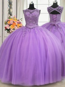 Lovely See Through Floor Length Ball Gowns Sleeveless Lavender Quinceanera Dresses Lace Up