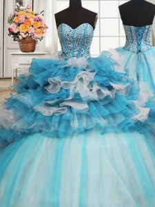 Free and Easy Visible Boning Beaded Bodice Ruffled Layers Ball Gowns Quinceanera Dress Blue And White Sweetheart Tulle Sleeveless Floor Length Lace Up