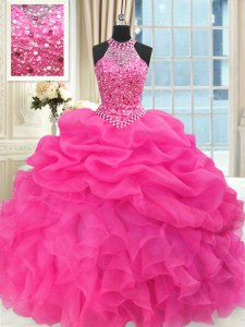 Glamorous See Through Beaded Bodice Hot Pink High-neck Lace Up Beading and Ruffles and Pick Ups 15 Quinceanera Dress Sleeveless