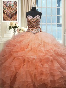 Custom Made Beaded Bodice Watermelon Red and Peach Ball Gowns Sweetheart Sleeveless Organza Floor Length Lace Up Beading and Ruffles Quinceanera Dress