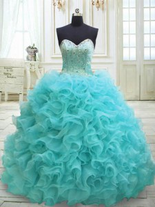 Free and Easy Aqua Blue Sleeveless Sweep Train Beading and Ruffles Sweet 16 Dress