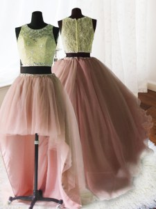 Three Piece Baby Pink 15th Birthday Dress Military Ball and Sweet 16 and Quinceanera and For with Beading and Lace and Ruffles Scoop Sleeveless Brush Train Zipper